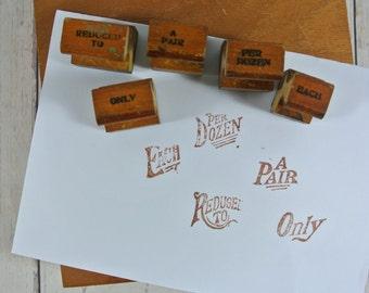 Set of 5 Vintage Wooden Rubber Stamps |  Shop Price Stamps | Sign Stamps | Price Label Stamps