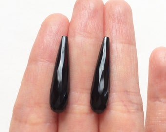 Black Agate Onyx Half Top drilled Faceted Long Teardrops 6x25 mm One Pair - Perfect for earrings L4309