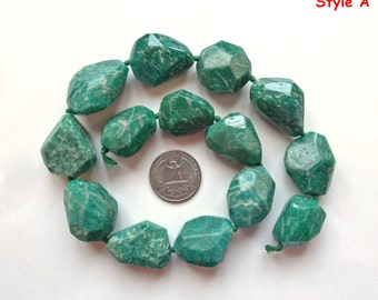 Genuine Natural AAA Grade Russian Amazonite Fat Chunky Faceted Nuggets One strand L4773