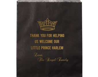 Prince Baby Personalized Favor/Goodie Bags - Baby Shower - First Birthday - Dessert Table - Treat Table
