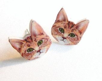 Tabby Kitten Earrings Hand drawn