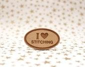 I heart Stitching Oval Cross Stitch Needle Minder, Wood Magnetic Needle Minder. Hand embroidery, Needle Keeper.