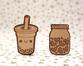 Boba, Crafty Jar of hearts Cross Stitch Needle Minder, Wood Magnetic Needle Minder. Hand embroidery, Needle Keeper. Pearl Tea,  Mason Jar