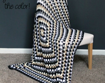 Granny Square Throw Blanket Afghan Modern Crochet - Dark Grey, Light Grey, White, Brown - Made To Order