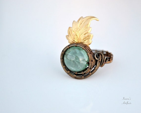 Gemstone ring Fluorite Wire wrapped green brass leaf Vintage Jewelry Adjustable retro Gift for her natural stone