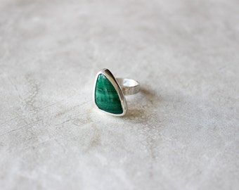 Malachite Ring, Gemstone Ring, Size 5.5 US, Triangle Ring, Sterling Silver Ring, Hand Fabricated Ring