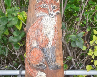 Vintage Fox Painting Thick Acrylic on Wood Tree Bark Donna Barber Schwefel Wisconsin 1970's