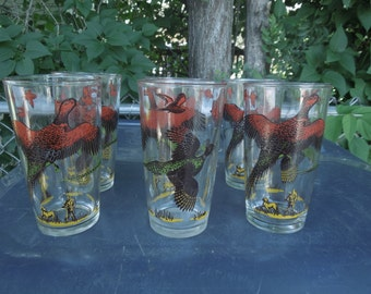 "Hazel Atlas Pheasant Drinking Glasses Set of Six 5 1/8"" Tall Hunting Bird"