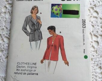 Misses Jacket, Learn to Sew, Kwik Start Pattern 2883 Sizes XS - XL