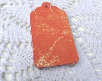 Pumpkin Orange Gift Tags, Mottled Orange Wedding Tag, Fall Harvest Party Favor Label - Set of 20