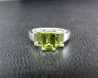 15% Off Sale.S350.Made To Order... Sterling Silver Multistone Ring with 2 carats Natural Peridot Gemstones