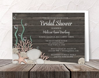 Beach Bridal Shower Invitations Rustic - Seashells Sand and Brown Wood Background design - Printed Invitations