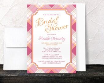 Bridal Shower Invitations - Pink Orange Plaid pattern - Stylish and Preppy design - Printed Invitations