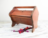 Vintage wooden sewing chest w/ legs, handle and hinged doors