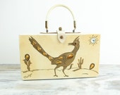 Vintage wooden jeweled purse, w/ gold roadrunner design
