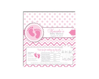 Pink Footprint Chocolate Bar Wrapper-Party Favors-Candy Wrapper-Baby Shower-DIGITAL DOWNLOAD
