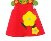 Girls Aline Dress - Gorgeous Red with Yellow Flowers - Infant Dress Pattern - Girls Clothing - Handmade Custom Made Dress - 3M to 4T
