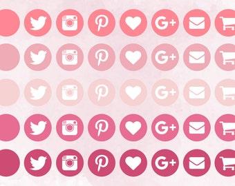 Pink Social Media Icons
