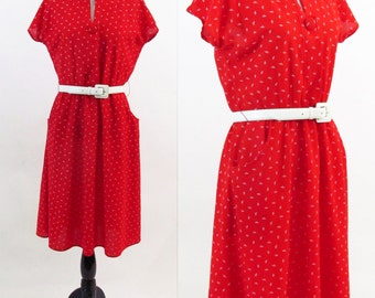 Vintage 1980's Day dress - Red Rock-A-Billy Shirt Dress - Mid length Casual Picnic dress - Size medium - small