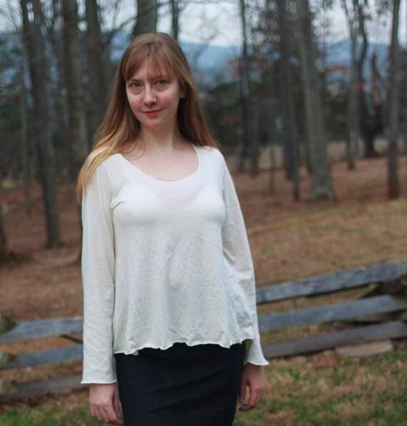 Flow Shirt, American Grown Organic Cotton Jersey Top, Flared Eco Friendly Women's Shirt