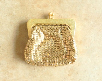 60's MESH COIN PURSE - Gold / Sterling Mesh / Classic / Elegant / Wedding