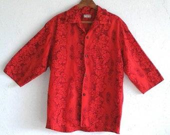 50's MENS HAWAIIAN SHIRT -  Mid-Century / Holiday / Festive / Red / Rare / Nastaulgic / three Fourth Sleeve / Kimi's Hawaii / Size Medium