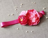 Bridal Flower Ribbon Sash Belt - Rustic Woodland Wedding Dress Sashes Belts - Red Violet Pink Magenta Fuschia Purple Flowers Mixed Bunch