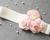 Bridal Flower Sash Belt - Rustic Wedding Dress Sashes Belts - Bridesmaid Flower Girl Ribbon Belt - Blush Pink Flowers