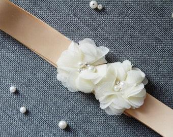 Bridal Sash Belt - Wedding Dress Sashes Belts - Bridesmaids Flower Girl Champagne Gold Light Brown Ribbon Butter Cream Chiffon Flowers