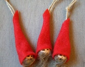 Christmas elves 'tonttu' -Hanging elf pixie Christmas decoration 2-3 pc set Red hat Scandinavian Holidays wood Primitive Handmade in Finland