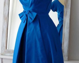 Vintage 1950's gitane blue satin tulip dress, UK size 10/12