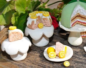 Miniature Lemon Bundt Cake with two slices, 1/12 scale, polymer clay, no calories, diet cake