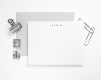 Letterpress Flat Stationery Set - Simple Personalized Note Cards - Custom Printed - Letterkast