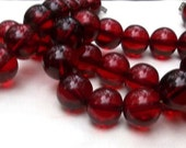 """RESERVED for Mali Cherry Amber Bakelite Round Beads, Translucent Red, 26"""""""