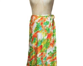 vintage 1970s novelty print beach skirt / Sears Jr. Bazaar / cotton / palm trees rainbows beach / women's vintage skirt / size small