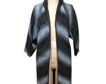 vintage 1950's LILLI DIAMOND dress coat / chevron / black white gray / wool / swing coat / women's vintage coat / size large