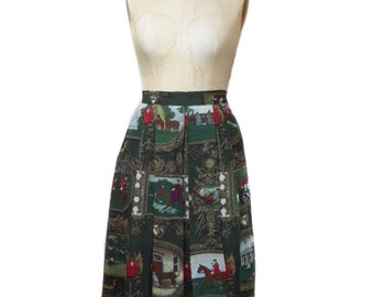vintage 1980s equestrian novelty print skirt / Geiger Collection / wool / horses English countryside / women's vintage skirt / size 34