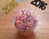 2016 Cupcake Toppers -- New Years Eve Party Toppers / Graduation Party /  Class of 2016 Party Decorations