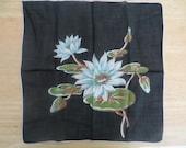 Vintage handkerchief, hanky, hankie, water lily handkerchief, black blue handkerchief, fabric art