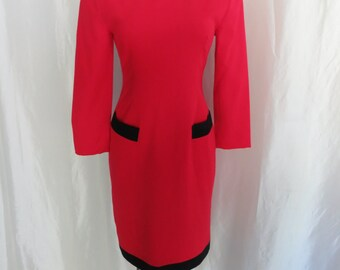 Vintage 80s womens designer dress, red black long sleeve winter dress, Alvin Bell dress, African American women