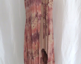 Vintage 80s womens tunic, maxi dress, long tunic, summer cover up, boho vest, hippie tie dye