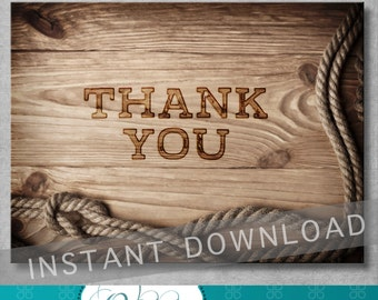 Rustic Wedding Thank You Card - Rustic Invitation - 4 x 5.5 - Country Western - Digital - DIY - Printable - INSTANT DOWNLOAD