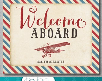 Personalized Welcome Aboard Sign - Vintage Airplane Party - Birthday - Party Printables - Airplane Decor -Red Blue - 8x10 inches - Digital