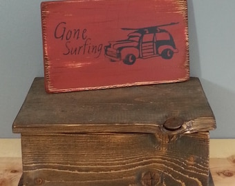 Gone Surfing rustic wooden sign.  Woody Wagon with a surfboard on top. Beach, Ocean, Relax