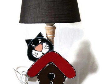 Cat lamp and shade - Living room lamp - Bedroom lamp