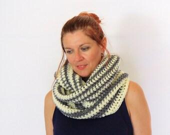 Infinity scarf, striped scarf, eternity scarf, circle scarf, in ivory and grey, Calypso Stripes, vegan friendly, ready to ship