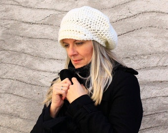 Women crochet newsboy hat beret hat with visor slouchy tam hat visor in ivory, Hebe, vegan friendly