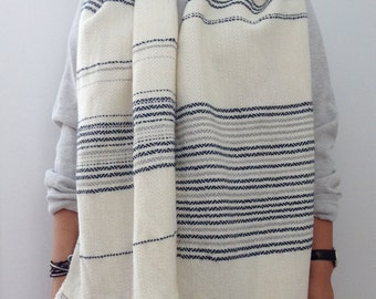 Handwoven wool scarf 001 - one of a kind grey navy blue white gray weaving with fringe