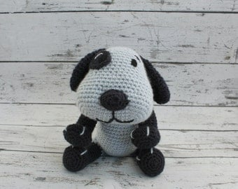 Pete the Puppy, Crochet Puppy Stuffed Animal, Blue Puppy Amigurumi, Plush Animal, MADE TO ORDER