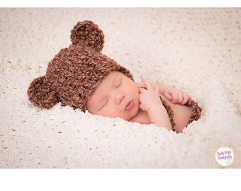 Crochet Baby Hat chunky Brown Tweed  earflaps ears  photo prop Monkey Bear Animal newborn neutral